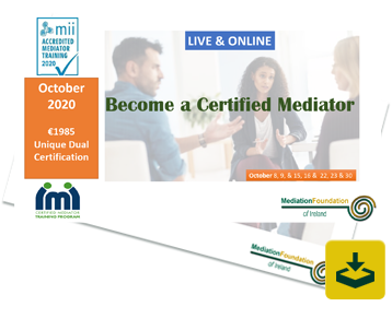 Mediation Training Course Ireland: October 2020